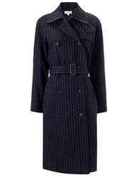 Eudon Choi Navy Pinstripe Belted Trench