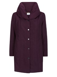 Eastex Long Length Ruch Collar Coat Dark Purple