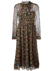 Red Valentino Floral Print Long Dress Red