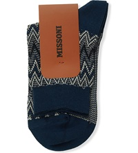 Missoni Zig Zag Cotton Blend Socks 004 Blue