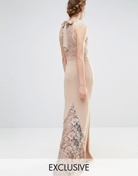 Jarlo Wedding High Neck Lace Maxi Dress With Bow Back Taupe Brown