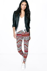 Boohoo Tonal Tribal Print Leggings Multi