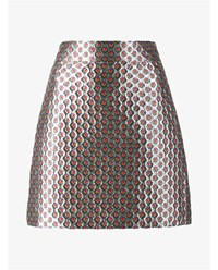 Miu Miu Metallic Mini Skirt With Micro Floral Print Silver White Denim Red