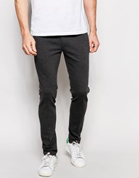 Asos Super Skinny Fit Trousers In Jersey Charcoal