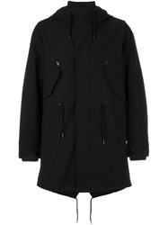 Diesel Drawstring Hooded Duffle Coat Black