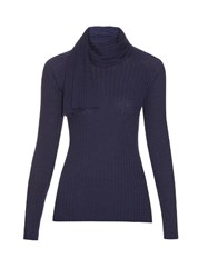 The Row Inga Scarf Neck Wool And Silk Blend Sweater Blue
