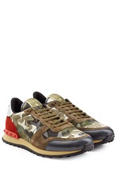 Valentino Rockstud Fabric And Leather Sneakers Multicolor