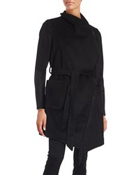 Bcbgeneration Fringed Belted Wrap Coat Black