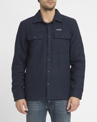 Patagonia Navy Fjord Flannel Quilted Shirt Jacket Blue