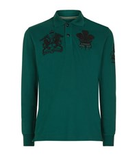 La Martina Long Sleeve Pique Logo Polo Shirt Male Green