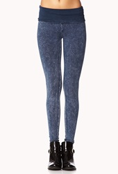 Forever 21 Acid Wash Fold Over Leggings Blue