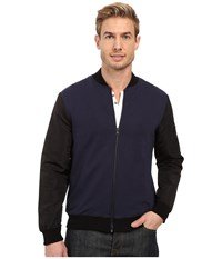 Kenneth Cole Knit Bomber W Nylon Sleeves Indigo Men's Coat Blue