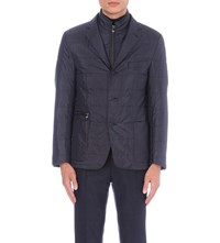 Corneliani Padded Quilted Silk Blazer Blue