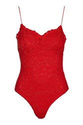 Topshop Scalloped Lace Detailed Body Red