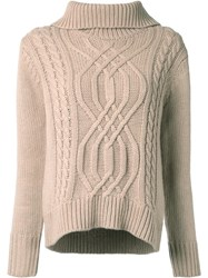 Guild Prime Cable Knit Turtleneck Jumper Brown