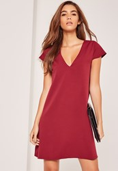 Missguided Cap Sleeve Plunge Swing Dress Red Wine
