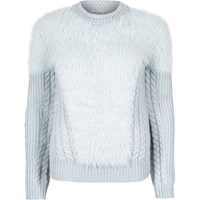 River Island Womens Light Blue Fluffy Cable Knit Jumper