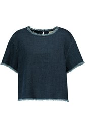 Simon Miller Mesa Cropped Cotton Chambray Top Dark Denim