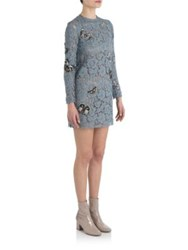 Valentino Butterfly Floral Lace Dress Blue