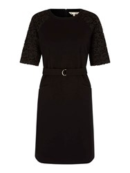 Yumi Belt Dress With Lace Sleeves Black
