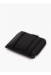 Comme Des Garcons Black Raised Spike Leather Zip Coin Wallet