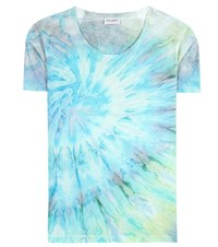 Saint Laurent Printed Cotton T Shirt Turquoise