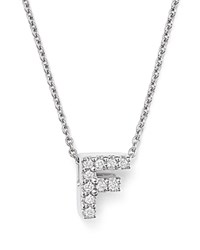 Roberto Coin 18K White Gold Initial Love Letter Pendant Necklace With Diamonds 16 F