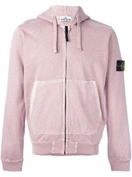 Stone Island Arm Patch Hoodie Pink And Purple