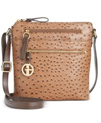 Giani Bernini North South Ostrich Printed Crossbody Only At Macy's Mocha