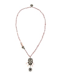 Love Heals Braided Pink Quartz And Pearl Necklace