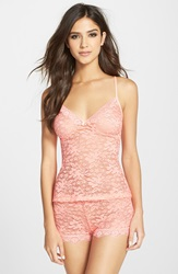 In Bloom By Jonquil Stretch Lace Camisole And Shorts Hot Coral