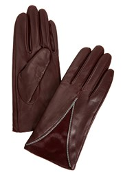 Dents Layla Burgundy Leather And Calf Hair Gloves