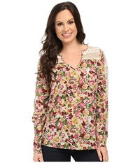 Roper 9903 Printed Cotton Lawn Peasant Blouse Red Women's Blouse