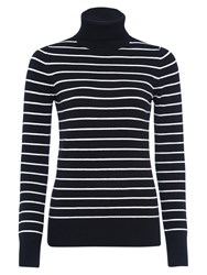 French Connection Babysoft Striped Turtleneck Jumper Black Winter White