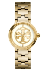 Tory Burch 'Reva' Logo Dial Bracelet Watch 28Mm Gold Ivory
