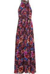 Matthew Williamson Jardin Draped Printed Silk Georgette Gown Multi