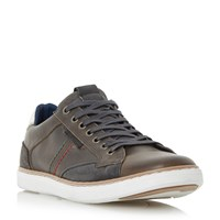 Dune Tailored1 Stitch Detail Leather Trainers Grey