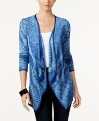 Inc International Concepts Petite Space Dyed Draped Cardigan Only At Macy's Goddess Blue