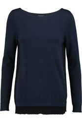 Rag And Bone Hallie Two Tone Cotton And Cashmere Blend Sweater Blue