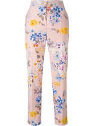 Blumarine Floral Cropped High Waisted Trousers Pink And Purple