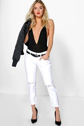 Boohoo Low Rise Distressed Boyfriend Jeans White