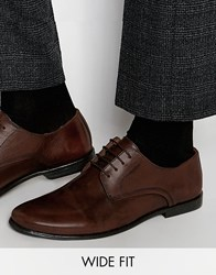 Asos Wide Fit Derby Shoes In Brown Leather Brown