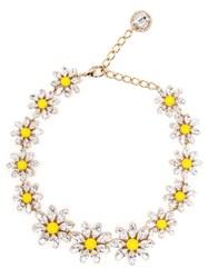 Dolce And Gabbana Crystal Daisy Necklace Yellow And Orange