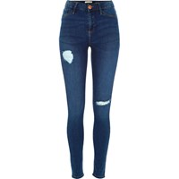 River Island Womens Mid Blue Wash Ripped Molly Reform Jeggings