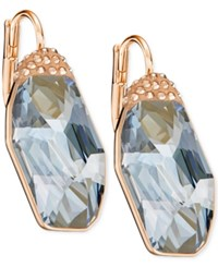 Swarovski Rose Gold Tone Large Crystal Drop Earrings Blue