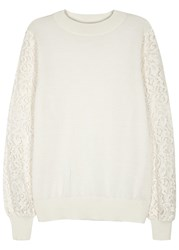 Clu Cream Lace Sleeved Wool Blend Sweatshirt Ivory