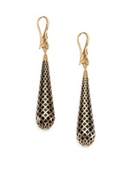 Gucci Diamantissima Enamel And 18K Yellow Gold Teardrop Earrings Black Gold