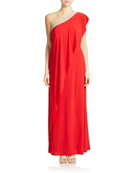Cachet Beaded One Shoulder Gown Red