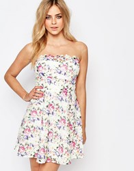 Lipsy Floral Lace Skater Dress Multi Floral Lace