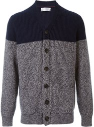 Brunello Cucinelli Colour Block Cardigan Blue